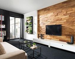 Betonowa płytka Timber - Średni biały czarny salon, styl nowoczesny - zdjęcie od STEGU