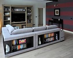 Konkurs - Średni szary biały czerwony salon, styl nowoczesny - zdjęcie od Pracownia projektowania wnętrz Beata Lukas