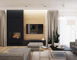 DOM SKAWINA - Duży biały beżowy czarny salon, styl nowoczesny - zdjęcie od FORMA - Pracownia Architektury Wnętrz - Homebook