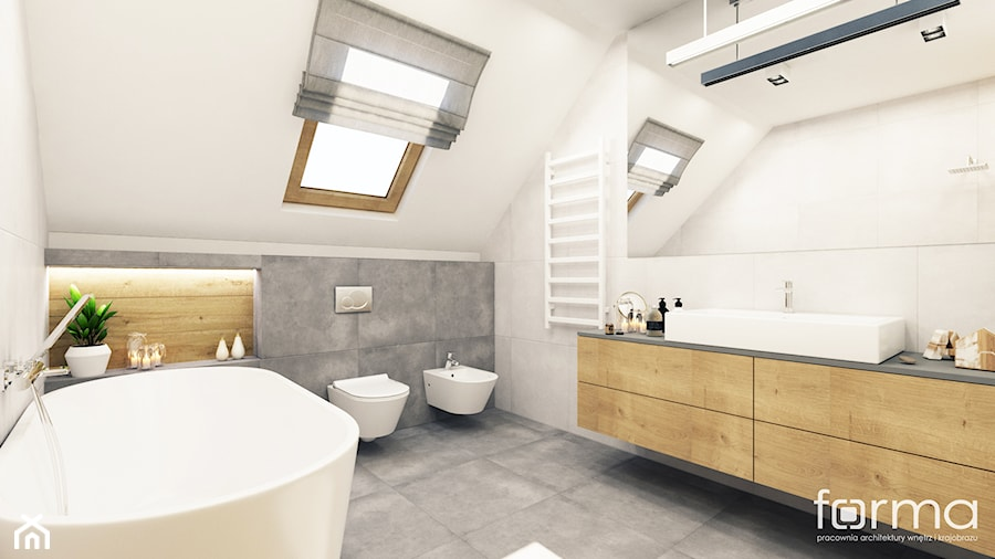 ŁAZIENKA KOWALSKA - Duża biała łazienka na poddaszu w bloku w domu jednorodzinnym bez okna, styl nowoczesny - zdjęcie od FORMA - Pracownia Architektury Wnętrz i Krajobrazu