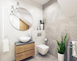ŁAZIENKA 2 ZABIERZÓW - Średnia biała beżowa łazienka na poddaszu w domu jednorodzinnym, styl nowojorski - zdjęcie od FORMA - Pracownia Architektury Wnętrz i Krajobrazu
