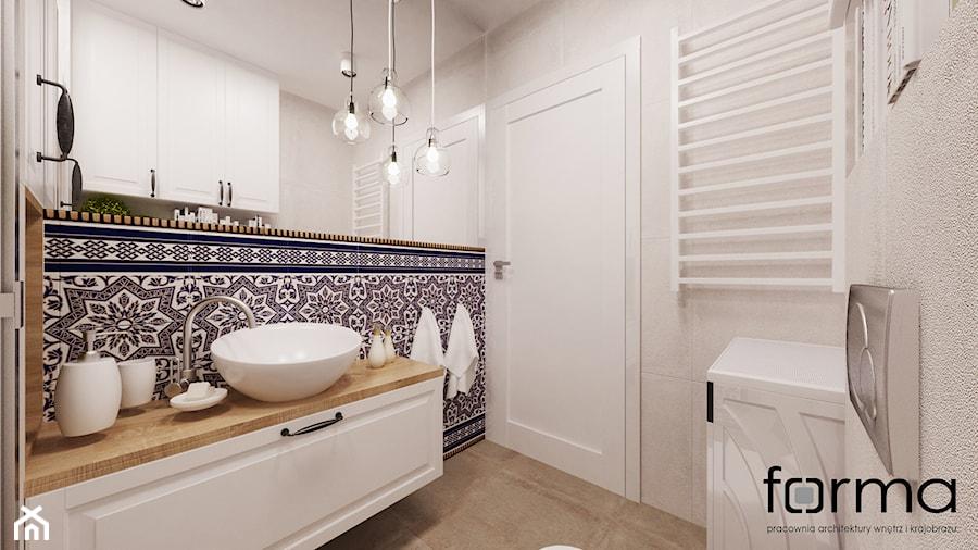 ŁAZIENKA CYSTERSÓW - Mała szara łazienka na poddaszu w bloku w domu jednorodzinnym bez okna, styl eklektyczny - zdjęcie od FORMA - Pracownia Architektury Wnętrz