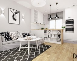 MIESZKANIE PACHOŃSKIEGO - Mały szary biały salon z kuchnią z jadalnią, styl skandynawski - zdjęcie od FORMA - Pracownia Architektury Wnętrz i Krajobrazu