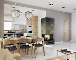DOM - Średni szary biały salon z kuchnią z jadalnią, styl nowoczesny - zdjęcie od FORMA - Pracownia Architektury Wnętrz i Krajobrazu