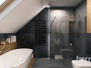 ŁAZIENKA KRYSPINÓW - Średnia szara łazienka na poddaszu w domu jednorodzinnym z oknem, styl nowoczesny - zdjęcie od FORMA - Pracownia Architektury Wnętrz