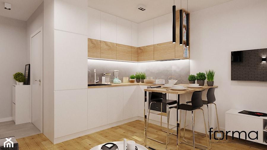 MIESZKANIE DĄBIE PARK - Mała biała szara kuchnia w kształcie litery l w aneksie, styl nowoczesny - zdjęcie od FORMA - Pracownia Architektury Wnętrz