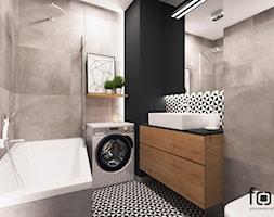 ŁAZIENKA DĄBSKA - Mała szara łazienka na poddaszu w bloku w domu jednorodzinnym bez okna, styl nowoczesny - zdjęcie od FORMA - Pracownia Architektury Wnętrz i Krajobrazu