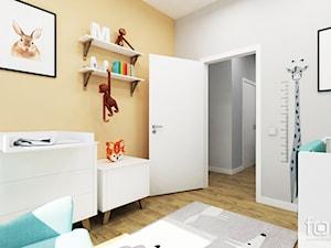 POKÓJ DZIĘCIĘCY ZIELONY NUGAT - Średni szary pomarańczowy pokój dziecka dla chłopca dla niemowlaka, styl eklektyczny - zdjęcie od FORMA - Pracownia Architektury Wnętrz i Krajobrazu