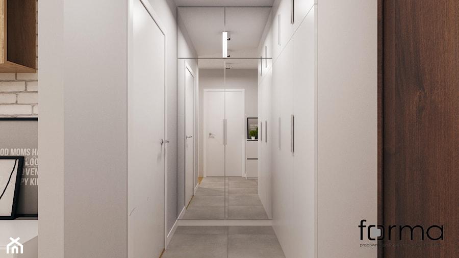MIESZKANIE DĄBIE PARK - Mały szary hol / przedpokój, styl nowoczesny - zdjęcie od FORMA - Pracownia Architektury Wnętrz