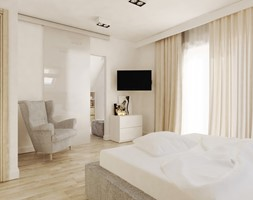 SYPIALNIA Z GARDEROBĄ - Sypialnia, styl nowoczesny - zdjęcie od FORMA - Pracownia Architektury Wnętrz i Krajobrazu