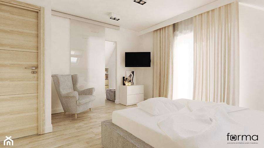 SYPIALNIA Z GARDEROBĄ - Średnia biała sypialnia dla gości, styl nowoczesny - zdjęcie od FORMA - Pracownia Architektury Wnętrz