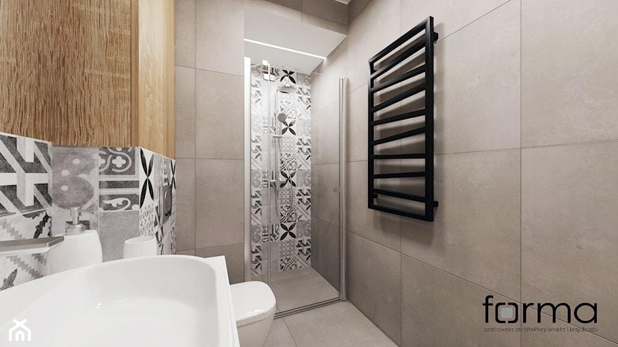MIESZKANIE DĄBIE PARK - Mała szara łazienka, styl nowoczesny - zdjęcie od FORMA - Pracownia Architektury Wnętrz
