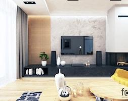 DOM NOWY SĄCZ - Duży biały salon z tarasem / balkonem, styl industrialny - zdjęcie od FORMA - Pracownia Architektury Wnętrz i Krajobrazu
