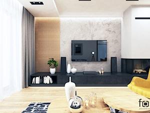 DOM NOWY SĄCZ - Duży biały salon z tarasem / balkonem, styl industrialny - zdjęcie od FORMA - Pracownia Architektury Wnętrz