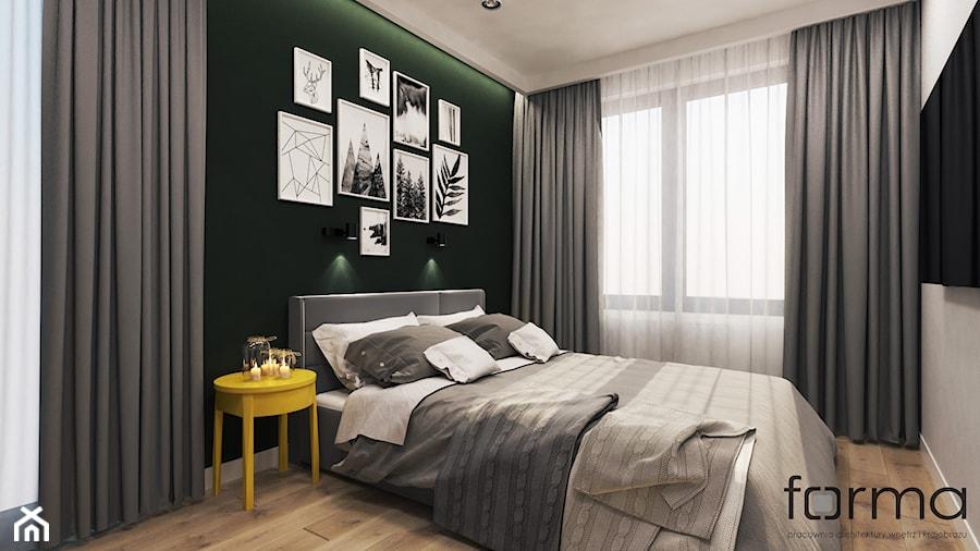 SYPIALNIA ZALESIE - Średnia biała zielona sypialnia małżeńska, styl eklektyczny - zdjęcie od FORMA - Pracownia Architektury Wnętrz