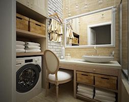 Mała biała beżowa łazienka, styl eklektyczny - zdjęcie od FORMA - Pracownia Architektury Wnętrz i Krajobrazu