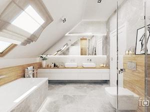 ŁAZIENKA ZABIERZÓW - Duża biała szara łazienka na poddaszu w domu jednorodzinnym z oknem, styl nowoczesny - zdjęcie od FORMA - Pracownia Architektury Wnętrz