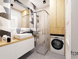 ŁAZIENKA KOBIERZYŃSKA - Mała szara łazienka na poddaszu w bloku w domu jednorodzinnym bez okna, styl nowoczesny - zdjęcie od FORMA - Pracownia Architektury Wnętrz i Krajobrazu