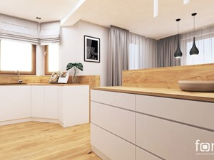 KUCHNIA RUCZAJ - Duża otwarta szara kuchnia w kształcie litery g z wyspą z oknem, styl nowoczesny - zdjęcie od FORMA - Pracownia Architektury Wnętrz i Krajobrazu