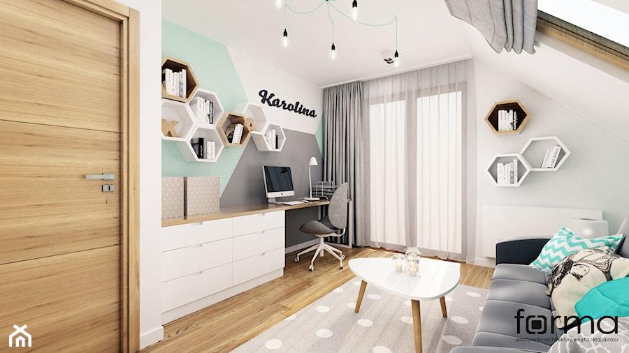 POKÓJ KAROLINY - Średni biały szary zielony pokój dziecka dla chłopca dla dziewczynki dla ucznia dla nastolatka, styl nowoczesny - zdjęcie od FORMA - Pracownia Architektury Wnętrz i Krajobrazu