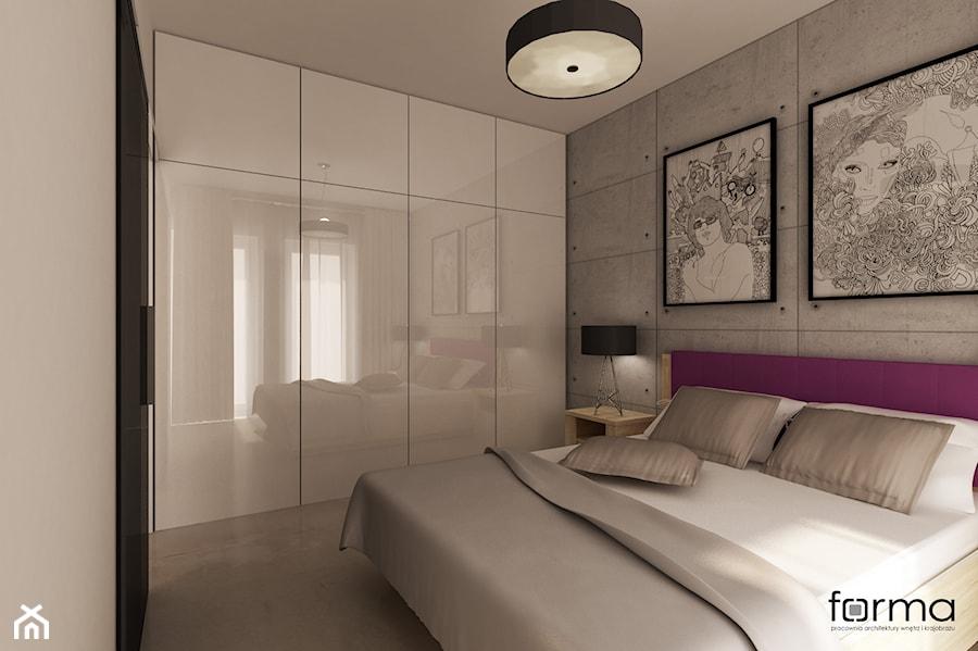 Mieszkanie - Średnia szara sypialnia małżeńska, styl nowoczesny - zdjęcie od FORMA - Pracownia Architektury Wnętrz i Krajobrazu