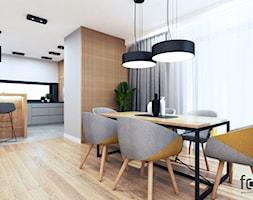 DOM NOWY SĄCZ - Średnia otwarta szara jadalnia w kuchni, styl industrialny - zdjęcie od FORMA - Pracownia Architektury Wnętrz i Krajobrazu