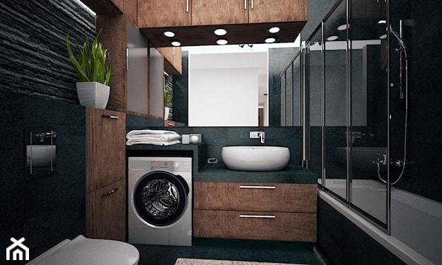 wanna z parawanem, grafitowe ściany w łazience, drewniane szafki łazienkowe