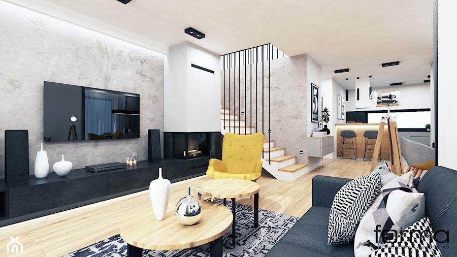 DOM NOWY SĄCZ - Duży szary biały salon z kuchnią z jadalnią, styl industrialny - zdjęcie od FORMA - Pracownia Architektury Wnętrz i Krajobrazu