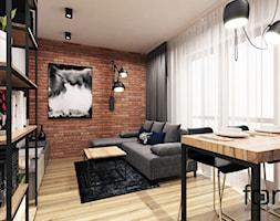MIESZKANIE CZERWONE MAKI - Mały kolorowy salon z jadalnią, styl industrialny - zdjęcie od FORMA - Pracownia Architektury Wnętrz i Krajobrazu
