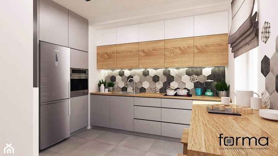 MIESZKANIE DĄBIE PARK - Średnia zamknięta biała szara kuchnia w kształcie litery l, styl eklektyczny - zdjęcie od FORMA - Pracownia Architektury Wnętrz