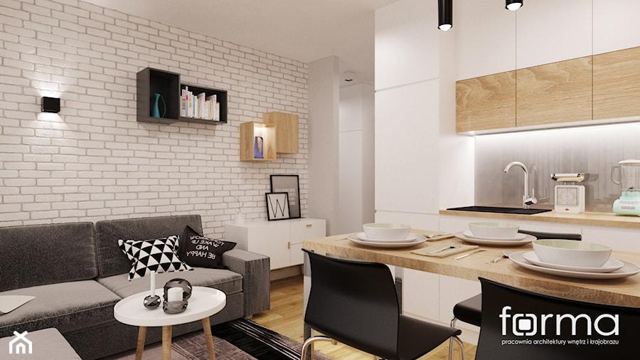 MIESZKANIE DĄBIE PARK - Średni salon z kuchnią z jadalnią, styl nowoczesny - zdjęcie od FORMA - Pracownia Architektury Wnętrz