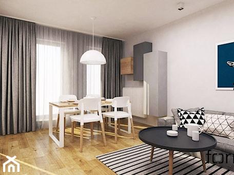 Aranżacje wnętrz - Salon: MIESZKANIE DĄBIE PARK - Średni biały salon z kuchnią z jadalnią, styl nowoczesny - FORMA - Pracownia Architektury Wnętrz. Przeglądaj, dodawaj i zapisuj najlepsze zdjęcia, pomysły i inspiracje designerskie. W bazie mamy już prawie milion fotografii!