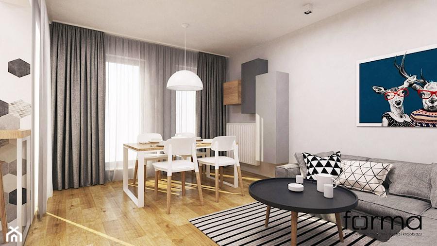 MIESZKANIE DĄBIE PARK - Średni biały salon z kuchnią z jadalnią, styl nowoczesny - zdjęcie od FORMA - Pracownia Architektury Wnętrz