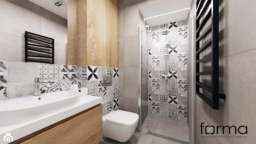 MIESZKANIE DĄBIE PARK - Mała szara łazienka w bloku bez okna, styl nowoczesny - zdjęcie od FORMA - Pracownia Architektury Wnętrz