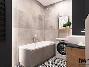 ŁAZIENKA DĄBSKA - Mała czarna szara łazienka na poddaszu w bloku w domu jednorodzinnym bez okna, styl nowoczesny - zdjęcie od FORMA - Pracownia Architektury Wnętrz i Krajobrazu