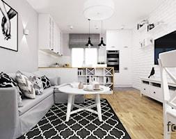 MIESZKANIE PACHOŃSKIEGO - Mały szary biały salon z bibiloteczką z kuchnią z jadalnią, styl skandynawski - zdjęcie od FORMA - Pracownia Architektury Wnętrz i Krajobrazu