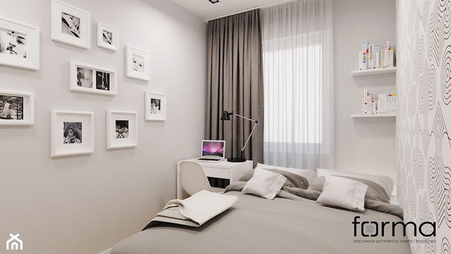 MIESZKANIE DĄBIE PARK - Mała szara sypialnia małżeńska, styl nowoczesny - zdjęcie od FORMA - Pracownia Architektury Wnętrz