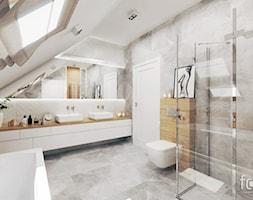 ŁAZIENKA ZABIERZÓW - Duża biała beżowa szara łazienka na poddaszu w domu jednorodzinnym z oknem, styl nowoczesny - zdjęcie od FORMA - Pracownia Architektury Wnętrz i Krajobrazu