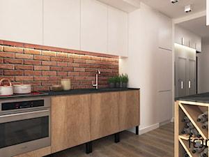 MIESZKANIE RUCZAJ - Średnia otwarta biała brązowa kuchnia jednorzędowa, styl industrialny - zdjęcie od FORMA - Pracownia Architektury Wnętrz i Krajobrazu