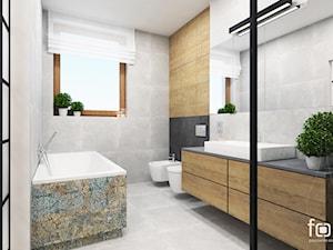 ŁAZIENKA KOKOSOWA - Duża łazienka w bloku w domu jednorodzinnym z oknem, styl industrialny - zdjęcie od FORMA - Pracownia Architektury Wnętrz