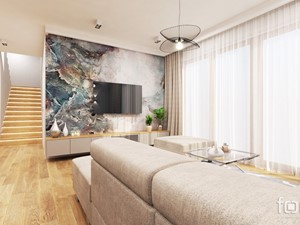 DOM ZABIERZÓW - Średni biały kolorowy salon z jadalnią, styl nowojorski - zdjęcie od FORMA - Pracownia Architektury Wnętrz