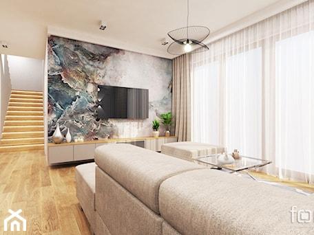 Aranżacje wnętrz - Salon: DOM ZABIERZÓW - Średni biały kolorowy salon z jadalnią, styl nowojorski - FORMA - Pracownia Architektury Wnętrz. Przeglądaj, dodawaj i zapisuj najlepsze zdjęcia, pomysły i inspiracje designerskie. W bazie mamy już prawie milion fotografii!