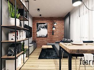 MIESZKANIE CZERWONE MAKI - Mały szary salon, styl industrialny - zdjęcie od FORMA - Pracownia Architektury Wnętrz
