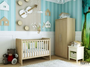 POKÓJ DZIECIĘCY - Średni biały niebieski pokój dziecka dla chłopca dla dziewczynki dla niemowlaka, styl klasyczny - zdjęcie od FORMA - Pracownia Architektury Wnętrz i Krajobrazu