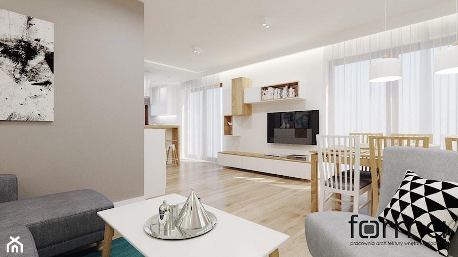 DOM W MODLNICY - Średni szary biały salon z jadalnią, styl nowoczesny - zdjęcie od FORMA - Pracownia Architektury Wnętrz i Krajobrazu