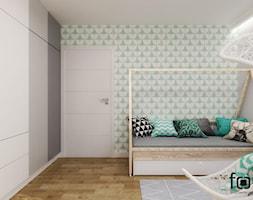 POKÓJ LENKI - Mały biały szary zielony pokój dziecka dla chłopca dla dziewczynki dla ucznia dla malucha dla nastolatka, styl skandynawski - zdjęcie od FORMA - Pracownia Architektury Wnętrz i Krajobrazu