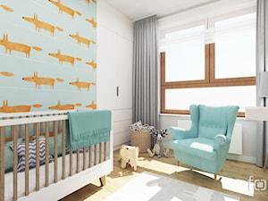 POKÓJ DZIĘCIĘCY ZIELONY NUGAT - Średni biały niebieski pokój dziecka dla chłopca dla niemowlaka, styl eklektyczny - zdjęcie od FORMA - Pracownia Architektury Wnętrz i Krajobrazu