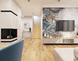 DOM ZABIERZÓW - Średni biały beżowy kolorowy salon z jadalnią, styl nowojorski - zdjęcie od FORMA - Pracownia Architektury Wnętrz i Krajobrazu