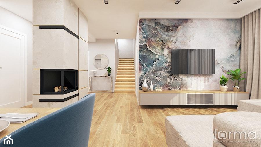 DOM ZABIERZÓW - Średni biały beżowy kolorowy salon z jadalnią, styl nowojorski - zdjęcie od FORMA - Pracownia Architektury Wnętrz