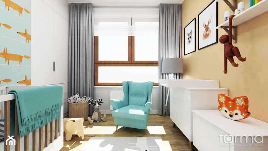 POKÓJ DZIĘCIĘCY ZIELONY NUGAT - Mały szary beżowy pokój dziecka dla chłopca dla niemowlaka, styl eklektyczny - zdjęcie od FORMA - Pracownia Architektury Wnętrz i Krajobrazu
